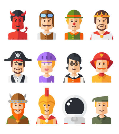 Set of vector isolated flat design people icon avatars for social network and your design Vector
