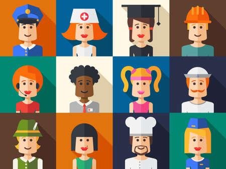 Mensen icon set van vector geïsoleerd plat ontwerp avatars voor sociale netwerk en uw ontwerp