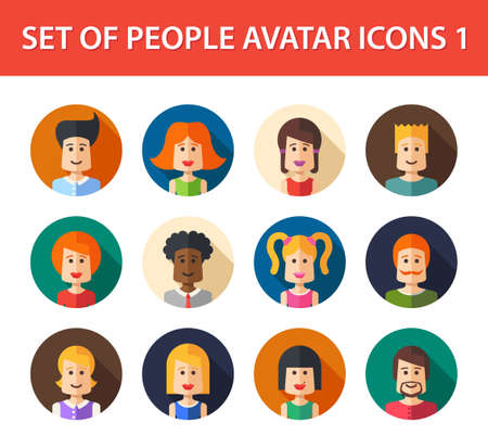 Set of vector isolated flat design people icon avatars for social network and your design