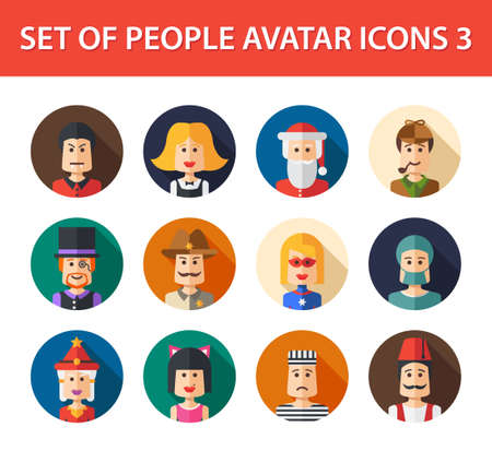 people icon set: Set of vector isolated flat design people icon avatars for social network and your design
