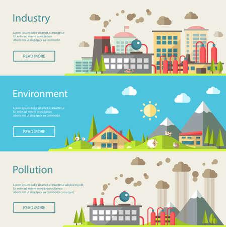 paesaggio industriale: Set di vettore design moderno piano concettuale illustrazioni ecologici Vettoriali