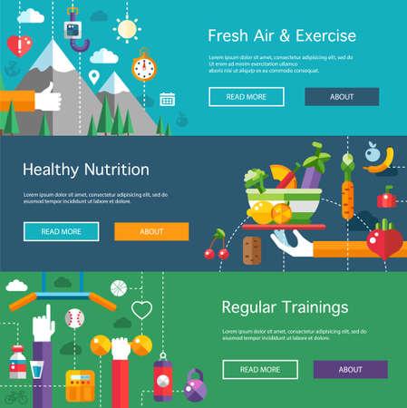 compositions: Set di sport di design piatto, fitness e lifestyle composizioni vettoriali sani