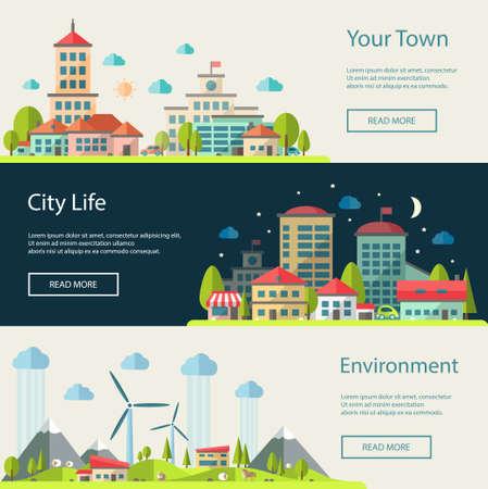 평면 디자인 도시 풍경 조성물의 벡터 일러스트 레이 션의 설정