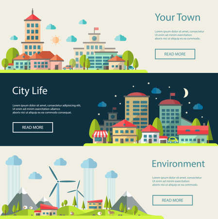Set of vector illustration of flat design urban landscape compositions Çizim