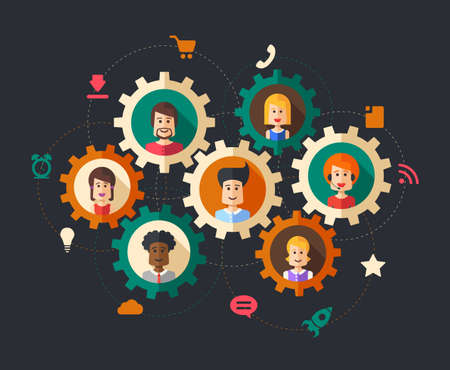 sales team: Modern vector illustration of abstract  people business composition