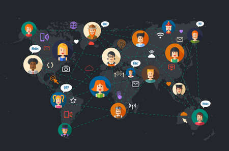 network and media: Modern vector flat design illustration of people social network community
