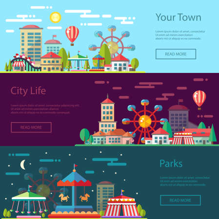 amusement: Modern vector flat design conceptual city illustration with carousels Illustration