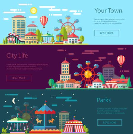 diversion: Vector moderno diseño plano de la ciudad ilustración conceptual con carruseles