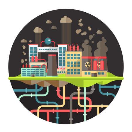 Modern vector flat design conceptual ecological illustration with factories Vector