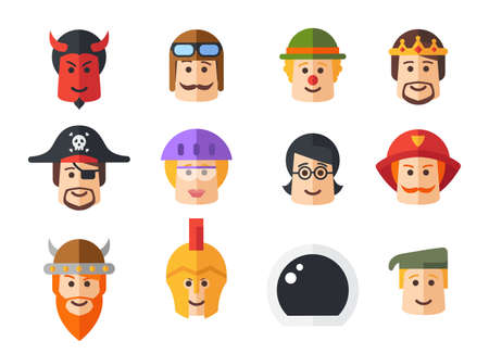 male face: Set of vector isolated flat design people icon avatars for social network and your design