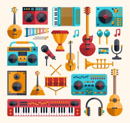 instrumentos musicales: Conjunto de modernos instrumentos de dise�o plano musicales de vector y herramientas iconos de la m�sica
