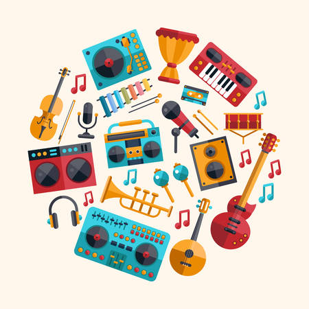 dj music: Set of vector modern flat design musical instruments and music tools icons Illustration