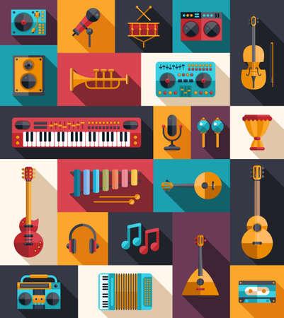 ベクトル フラット モダン楽器と音楽ツール アイコンのセット