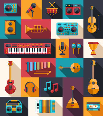 Set of vector modern flat design musical instruments and music tools icons Иллюстрация