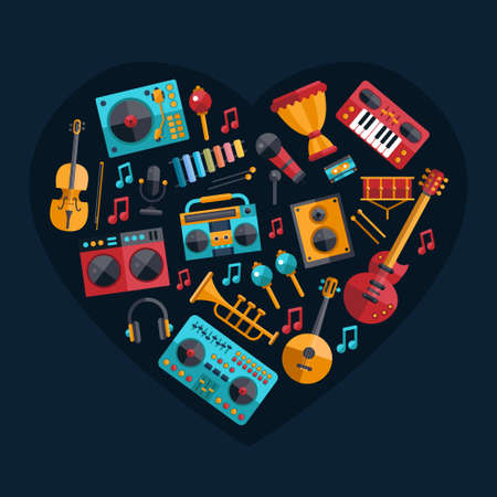 sound mixer: Set of vector modern flat design musical instruments and music tools icons Illustration