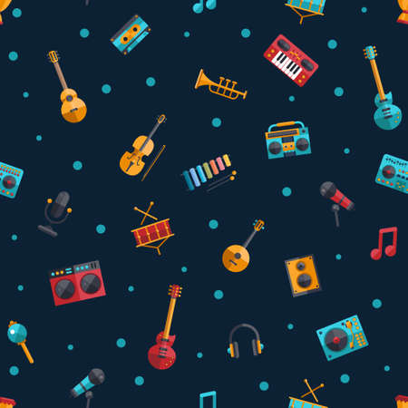 Illustration of vector modern flat design musical instruments and music tools decorative pattern