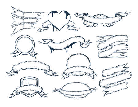 single line: Vector set of ribbons templates for your text