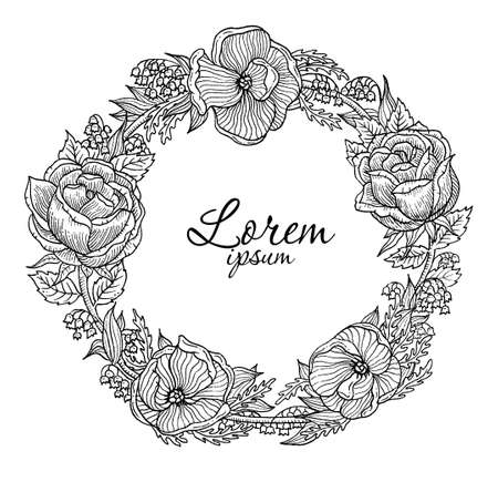 motif floral: Illustration of vector beautiful vintage flowers vignette Illustration