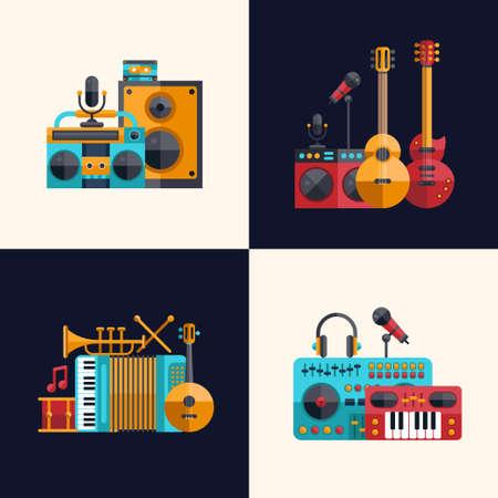 벡터 현대 평면 설계 악기 및 음악 도구 아이콘의 집합