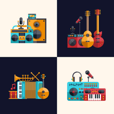 Set of vector modern flat design musical instruments and music tools icons Çizim