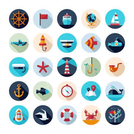 Set of vintage vector flat design modern nautical, marine icons
