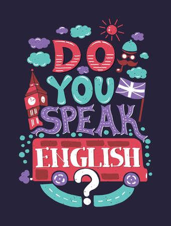 drapeau anglais: Vector design moderne plat hippie illustration avec la phrase que vous parlez anglais