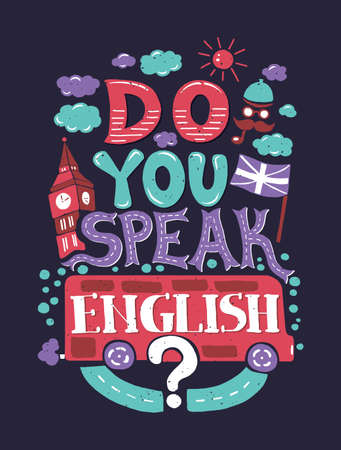 bandiera inglese: Vector moderno design piatto pantaloni a vita bassa con illustrazione frase Parli inglese