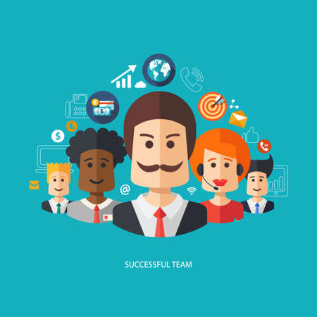 suggestions: Illustration of vector flat design business composition with successful team