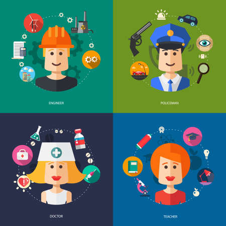 Illustration of vector flat design business illustrations with people professions Vector