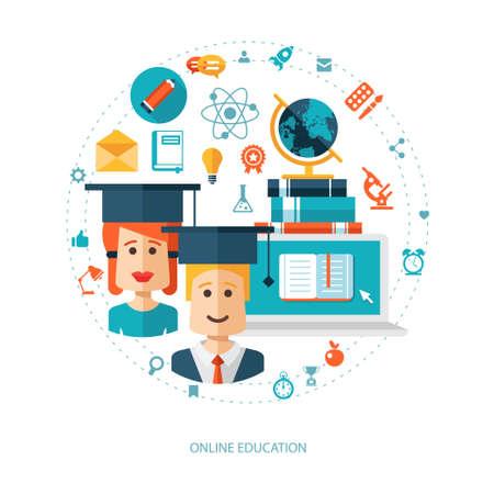 Illustration of vector flat design education composition Illustration