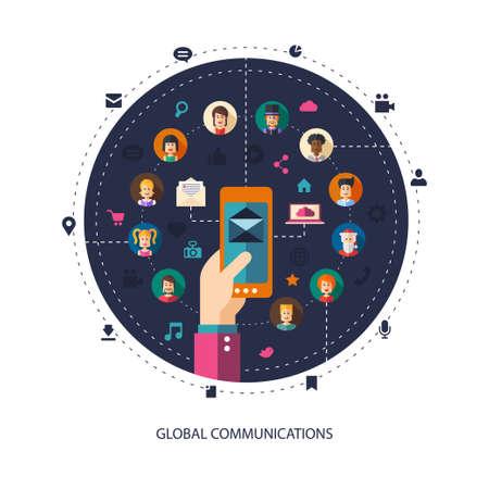 Modern vector flat design illustration of people social network community