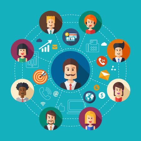 group  join: Illustration of vector flat design business team work composition