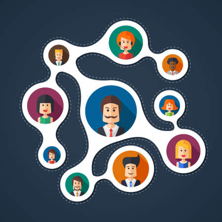 team leader: Illustration of vector flat design business team work composition