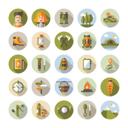 aventura: Ilustración diseño plano moderno de camping y senderismo info elementos vectoriales gráfico Vectores