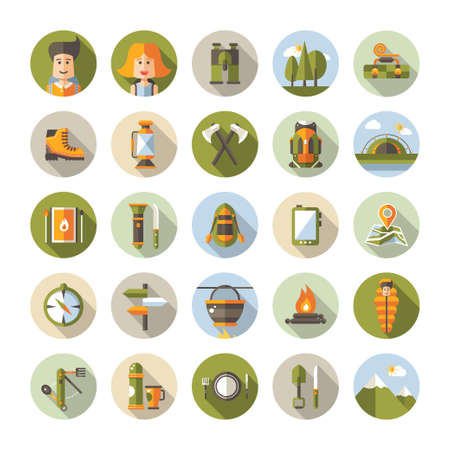 hiking: Modern flat design illustration of camping and hiking info graphic vector elements