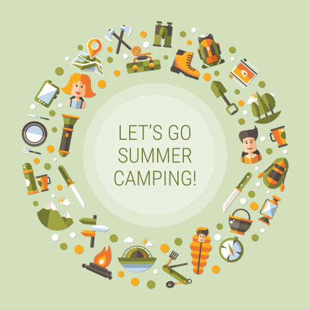 Modern flat design vector illustration of camping and hiking info graphics elements