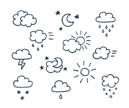 meteorologist: Set of vector hand-drawn weather isolated icons