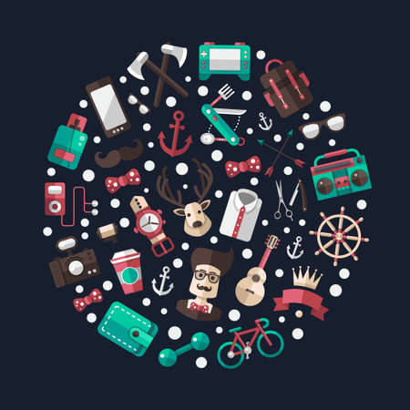 Circle vector illustration of modern flat design hipster icons