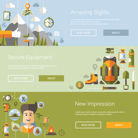 hiking: Modern flat design illustrations of camping and hiking info graphic vector elements