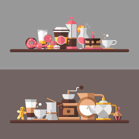 cafe: Set of vector modern flat design coffee-shop, cafe and bakery elements