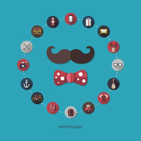 anchor man: Set of modern flat design hipster vector icons