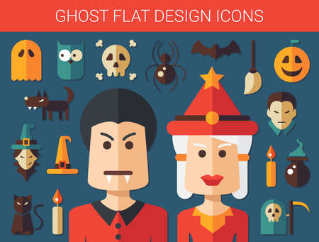 black cat silhouette: Set of vector flat design ghost icons