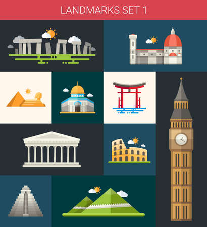 basillica: Set of vector flat design famous world landmarks icons Illustration