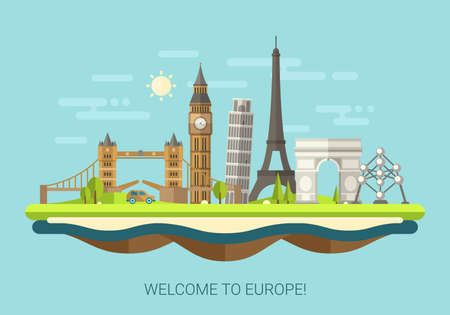 Vector illustration of flat design composition with famous european world landmarks icons Imagens - 37927269