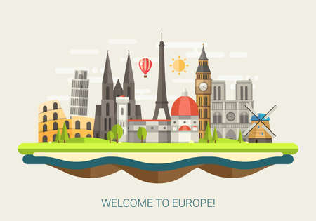 ヨーロッパ世界の有名なランドマークのアイコンとフラットなデザインの組成のベクトル イラスト