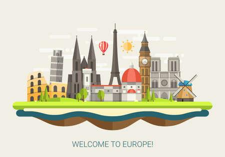 有名なヨーロッパのランドマークアイコンを持つフラットデザイン構成のベクトルイラスト