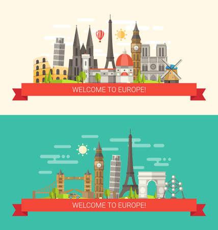 유명한 유럽 세계와 평면 디자인 구성 벡터 일러스트 레이 션의 아이콘 랜드 마크 일러스트