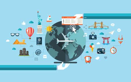 Vector illustratie van platte reizen ontwerp samenstelling met beroemde wereld oriëntatiepunten pictogrammen Stock Illustratie