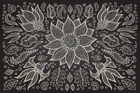 Illustration of vector hand drawn vintage floral retro elements Illustration