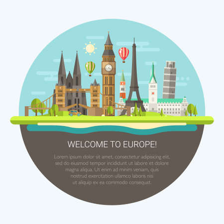 european culture: Vector illustration of flat design composition with famous european world landmarks icons